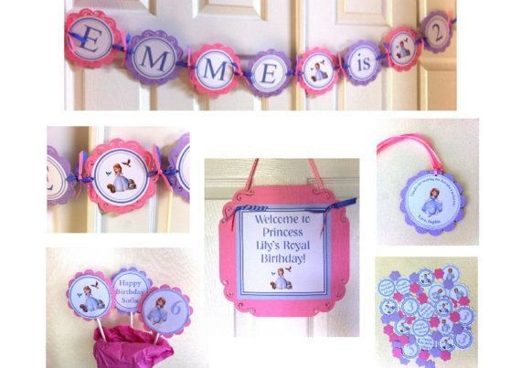 Etsy の Sofia the First Party Package by LittleDragonflyParty