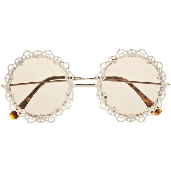 River Island Gold Tone Metal Filigree Round Sunglasses ($21) ❤ liked on Polyvore