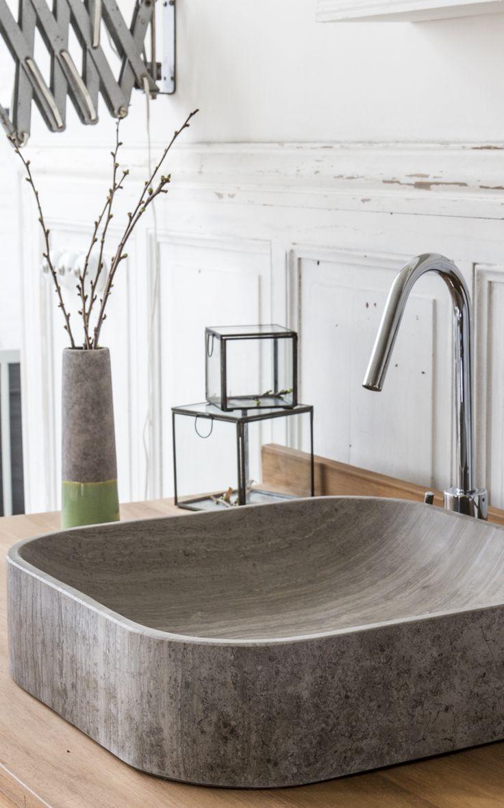 Modernes Aufsatzwaschbecken Aus Grauem Marmor Für Das Badezimmer
