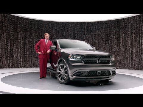 This is ad is for the new 2014 Dodge Durango. The Big idea that this ad is trying to convey is that the new Dodge Durango is better then ever because of all of it's new features (V8 engine, hp, glove box...). It reinforces the big idea by showing the actual car itself with all it's features. The use of the fictional comedic character Ron Burgundy makes this commercial memorable.