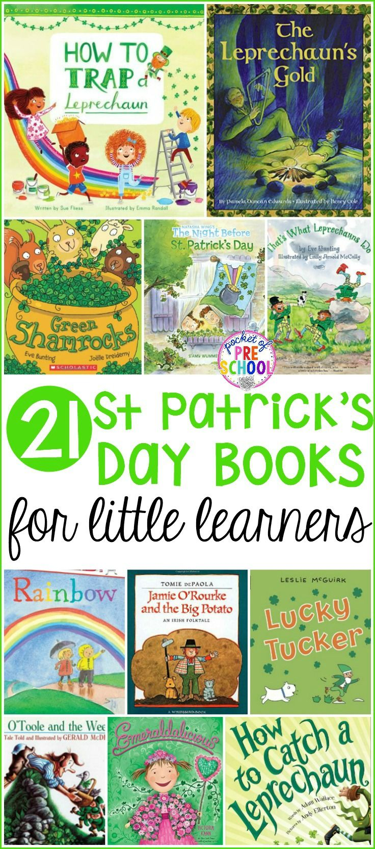 Giant list of St. Patrick's Day books for your preschool, pre-k, and kindergarten kiddos. A book list filled with leprechauns, clovers, rainbows, plus everything green and gold. Ready to plop right into your March lesson plans.