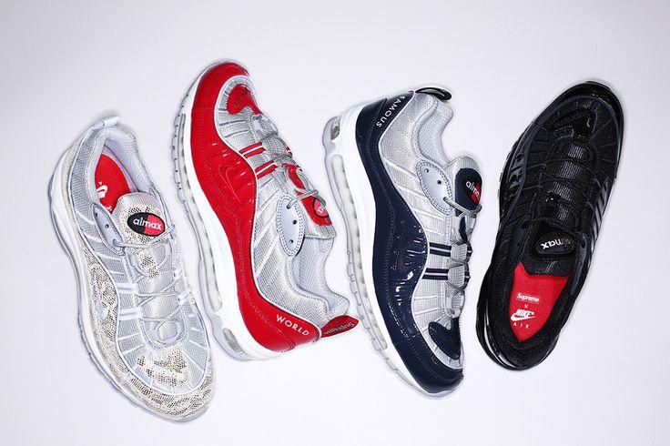 Les 4 coloris de la collection Supreme x Nike Air Max 98 © Supreme