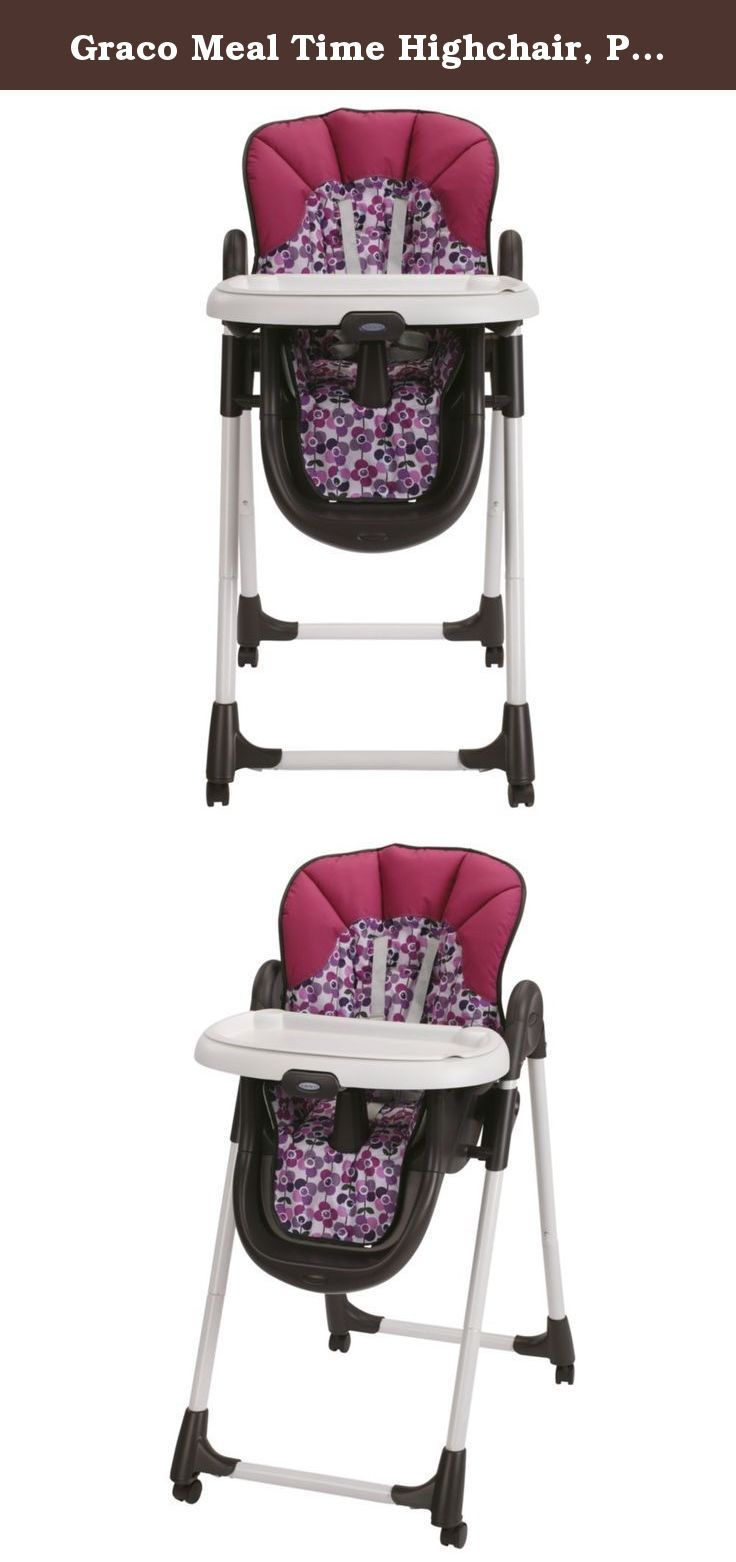 Graco Meal Time Highchair, Pammie. Graco meal time highchair makes mealtime with your baby comfortable and enjoyable for both of you. The 4-position height adjustment combined with the 3-position reclining seat help you to find a comfy position for your little dining companion. The locking casters and convenient fold make tucking this chair out of the way between mealtimes a snap. A great value with all the essential features to make mealtime a joy.