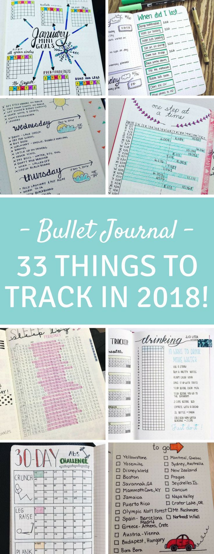 Bullet Journal Tracking Spreads - So many brilliant spreads here from tracking weight loss and water to chores and car maintenance!