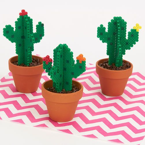 Blooming Cacti Create this dimensional trio of ever-blooming cacti with easy, fun Perler beads. Set them in real flower pots for a colorful accent on a shelf or windowsill.