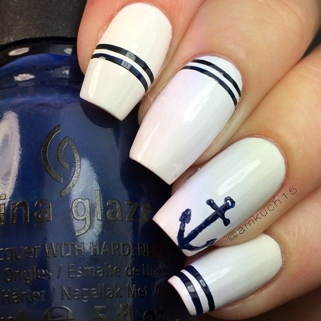 "Nautical nails!Using @chinaglazeofficial ""First Mate""I did the anchor and stripes with a thin nail art brush. Hope you like!"