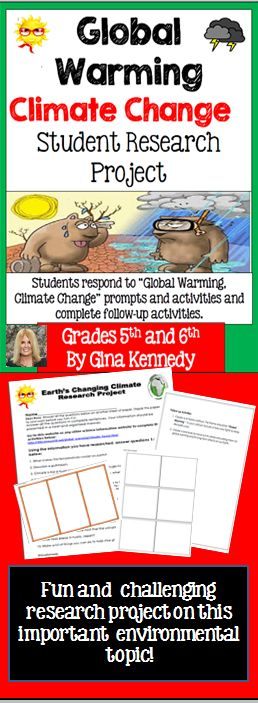"NO-PREP! With this ""Global Warming, Climate Change"" science resource, your students will gain an in depth understanding of important environmental topics such climate change, global warming, the Greenhouse Effect and more! Upon completing the research question portion of their assignment, the students will complete two follow-up projects using their researched information.$"