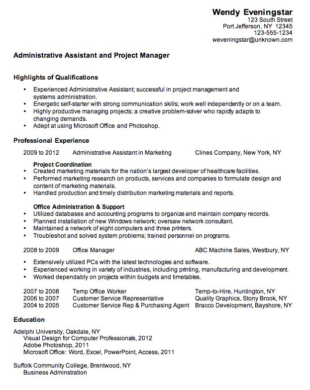 heres a combination resume sample for an administrative assistantproject manager this sample resume has short term jobs no job objective statement and - Administrative Assistant Resume Objective Sample