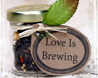 Love is Brewing - Tea Wedding Favors (20)- Personalized Bridal Shower Gift - Alice In Wonderland Weddings - Tea Party - Loose Apricot - Jar