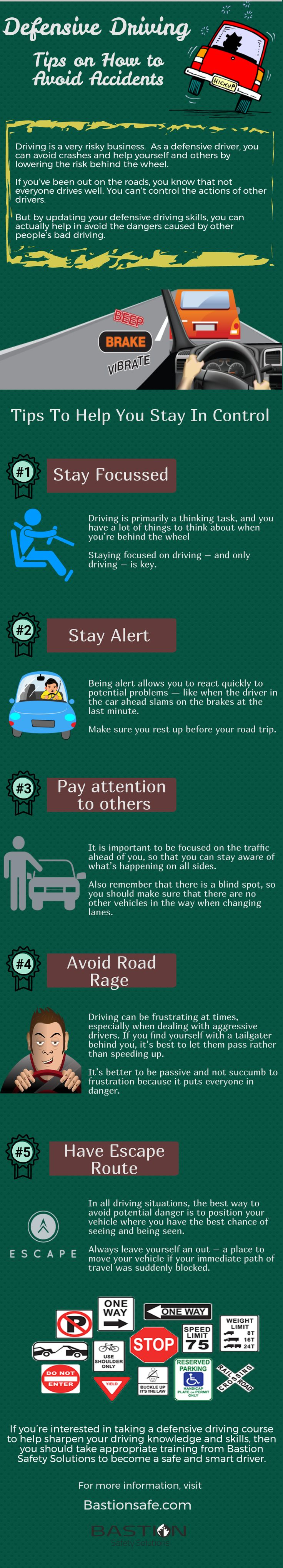 Learn how to #Drive Defensively. In this #infographic we describe the basics of #safe #driving tips to avoid accidents on #road