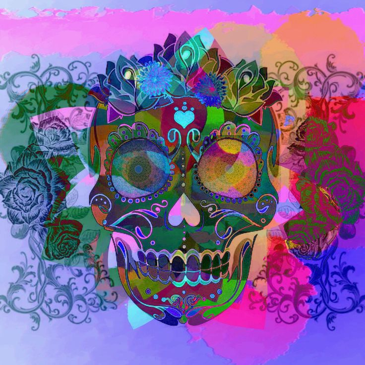 Calavera or decorative skulls are a popular item these days. All I've done here is reverse the colours.