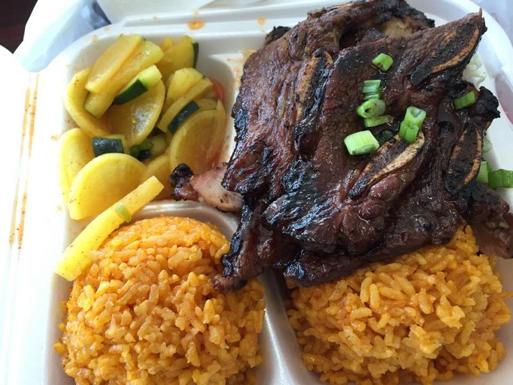 Chamorro Plate With Red Rice Barbequed Short Ribs And Daigo Cucumber Salad From Grill In San Diego