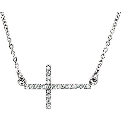 Petite Diamond Horizontal Cross Necklace