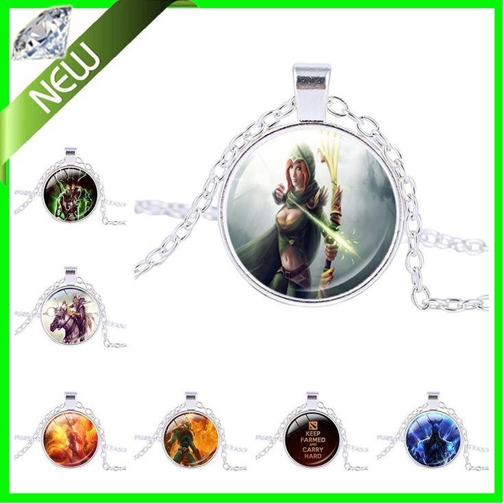 New Design Hot Game Dota 2 Necklace Dota 2 Game Figure Slark Tiny Doom Glass Round Dome Pendant Statement Necklace Jewelry