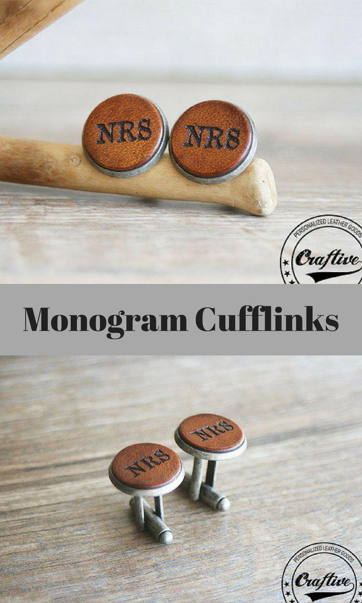 Cuff links, Wedding Cufflinks, Engraved Cufflinks, Groomsmen Cufflinks, Monogram Cufflinks, Custom Cufflinks, Leather Anniversary Gift #ad