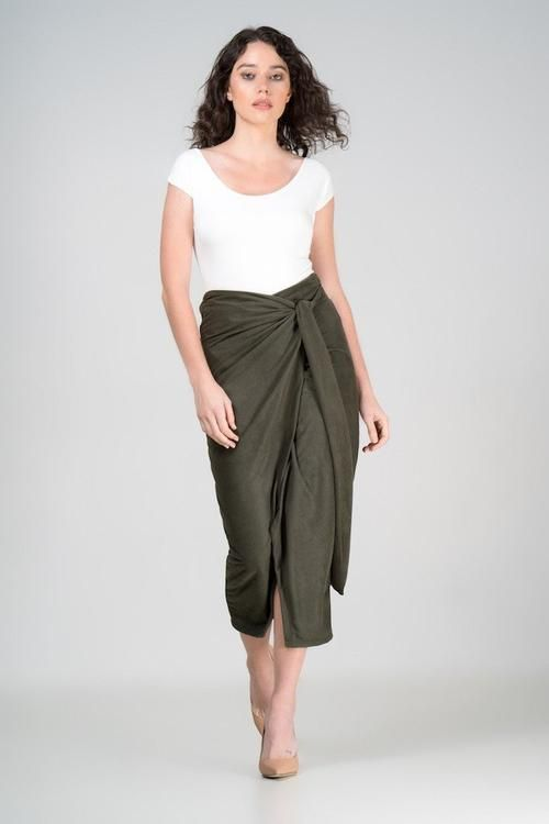 shop ethical sustainable & ethical clothing by Indecisive. Faux Suede Irene Wrap Skirt