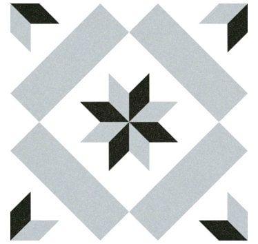 VIVES AZULEJOS Y GRES - Carrelage sol imitation ciment Calvet étoile grise et noire 20x20 cm (prix d'une boîte de 1m²)