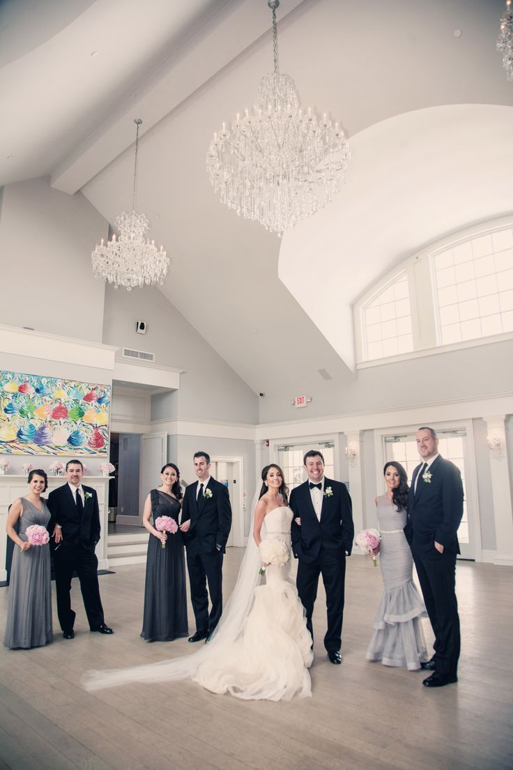 Bridal Party Pose Sparkling Pointe Vineyards North Fork Of Long Island