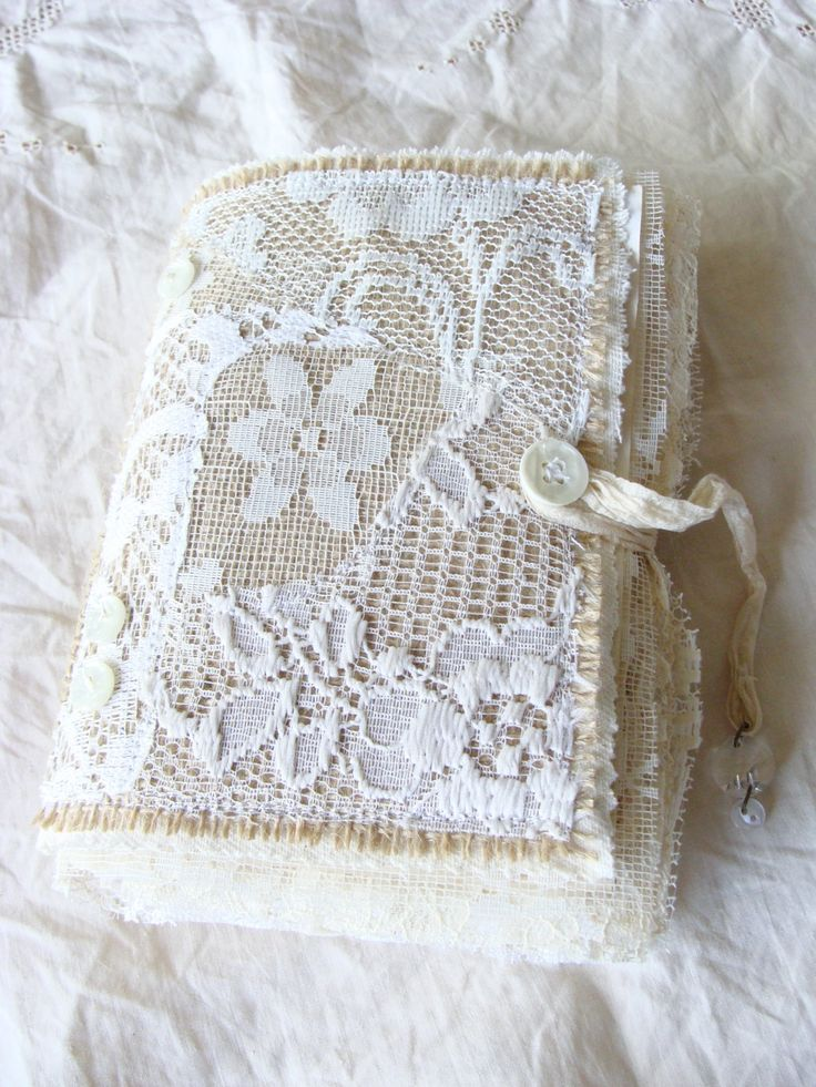 Handmade Journal Burlap Lace Fabric Book Handcrafted by ShabbySoul