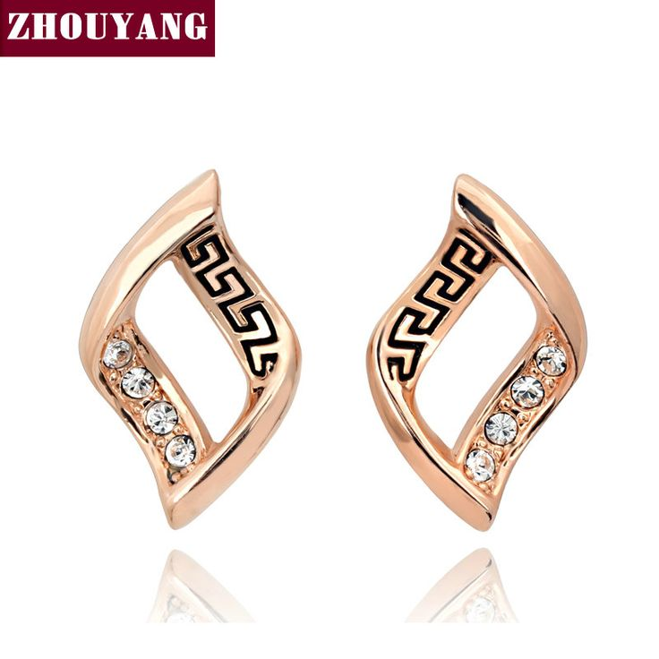 Top Quality  Rose Gold Plated Stud Earrings Jewelry   Austrian Crystal  Wholesale ZYE098 ZYE099