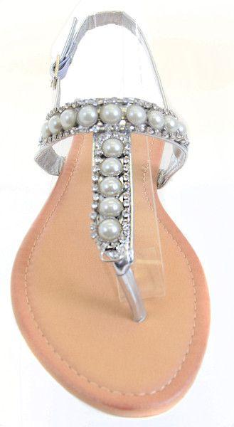 Pearls Jeweled Rhinestone T-Strap Flat Sandals