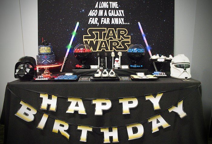 Star wars themed birthday party via kara 39 s party ideas full of decorating ideas favors games - Decoration table theme star wars ...