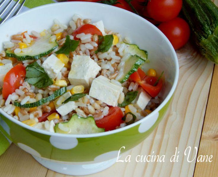 Insalata tre cereali con tofu al profumo di basilico