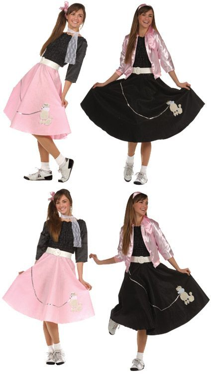 Girl Teen Costume Inlcudes Poodle Skirt Blouse Belt And Scarf Colors Available Red Pink Blue Purple
