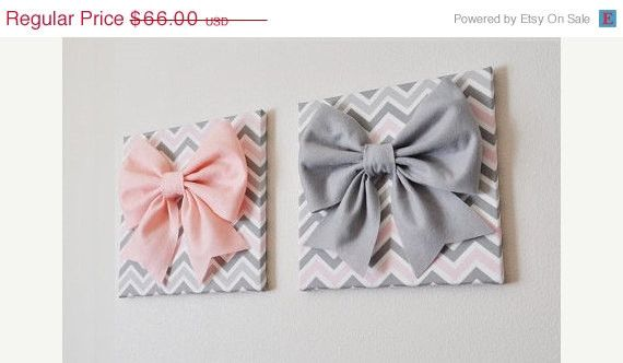 """MOTHERS DAY SALE Set of Two Large Light Pink Bow and Large Grey Bow on Gray and White Chevron 12 x12"""" Canvas Wall Art- Baby Nursery Wall Dec"""