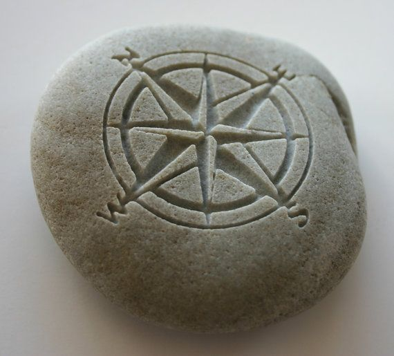 Compass Rose Engraved Stone Nautical River Rock Navigation
