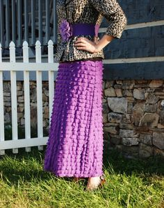 Custom made Purple Ruffle Maxi Skirt. I love the purple and leopard print together.