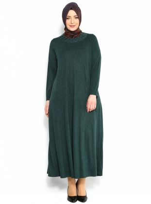Yakası Desenli Elbise - Yeşil - Neslihan Triko :: AvmCaddesi
