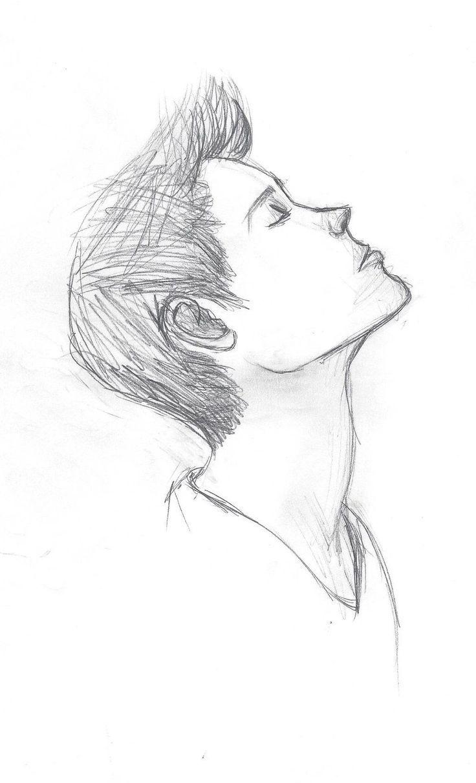 Einfache Bleistiftzeichnung eines traurigen Jungen Tumblr … –