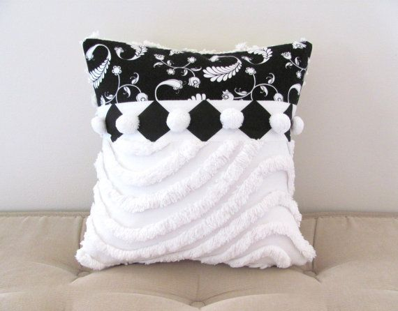 ♡ black pillow cover HARLEQUIN FEATHERS white by moreChenilleChateau