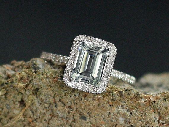 Goshenite bague de fiançailles White Emerald par BellAmoreDesign