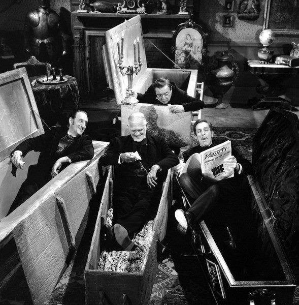 Vincent Price reading to Boris Karloff, Basil Rathbone and Peter Lorre
