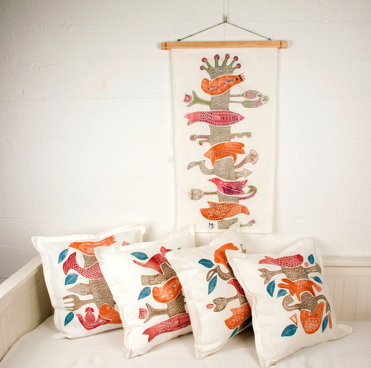 set of 4 cushions covers and 1 wall hanging, Tree of Life, orange, beige, hand printed, hand embroidered, home interior, scandinavian design by cushioncushion on Etsy