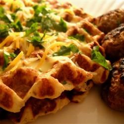 Potato Waffles Allrecipes.com  What a way to use leftover mashed potatoes.  And, savory waffles instead of those sweet ones we are all used to.  Add a little chopped up B Black Forest han and you have a real meal deal.