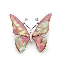 Mother of Pearl Brooch with Pink Butterfly Design