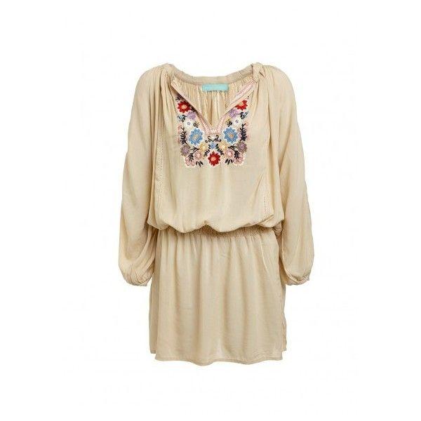 Nadja Embroidered Short Dress Beige Beachwear (€225) ❤ liked on Polyvore featuring dresses, summer dresses, long-sleeve mini dress, summer midi dresses, boho midi dress and short dresses