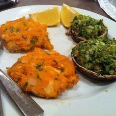 Ripped Recipes - Tuna Sweet Potato Cakes With Green Stuffed Mushroom Caps - Tonight's post-workout dinner: Homemade tuna sweet potato cakes with green stuffed mushroom caps!