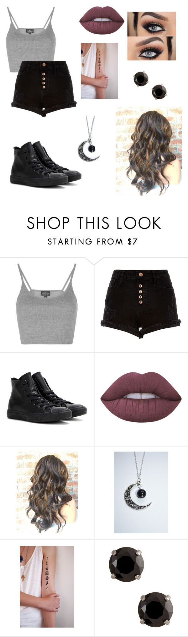 """""""Untitled #68"""" by paigevjacobs on Polyvore featuring Topshop, River Island, Converse and Lime Crime"""