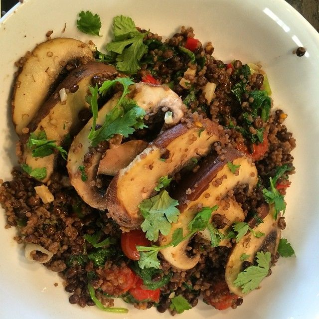 As you can't live on nana ice cream alone, here's a delicious dinner of Portobello mushroom on a bed of lentils and quinoa   #vegan #veget...