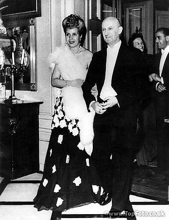 Senora Peron escorted by Dr Etter, President of the Federal Council, during a reception at the latter's house in Lucerne. June 1947