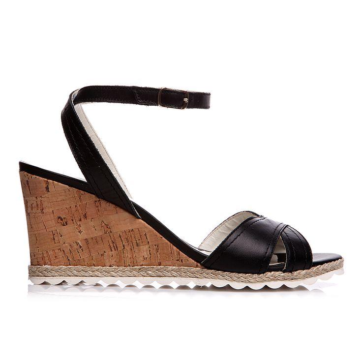 Code: 652B05 Heel height: 7 cm www.mourtzi.com #wedge #black #sandal #midheels #office_shoes
