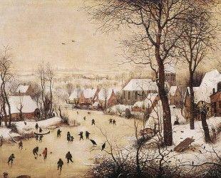 Зимний пейзаж с конькобежцами - Питер Брейгель Старший