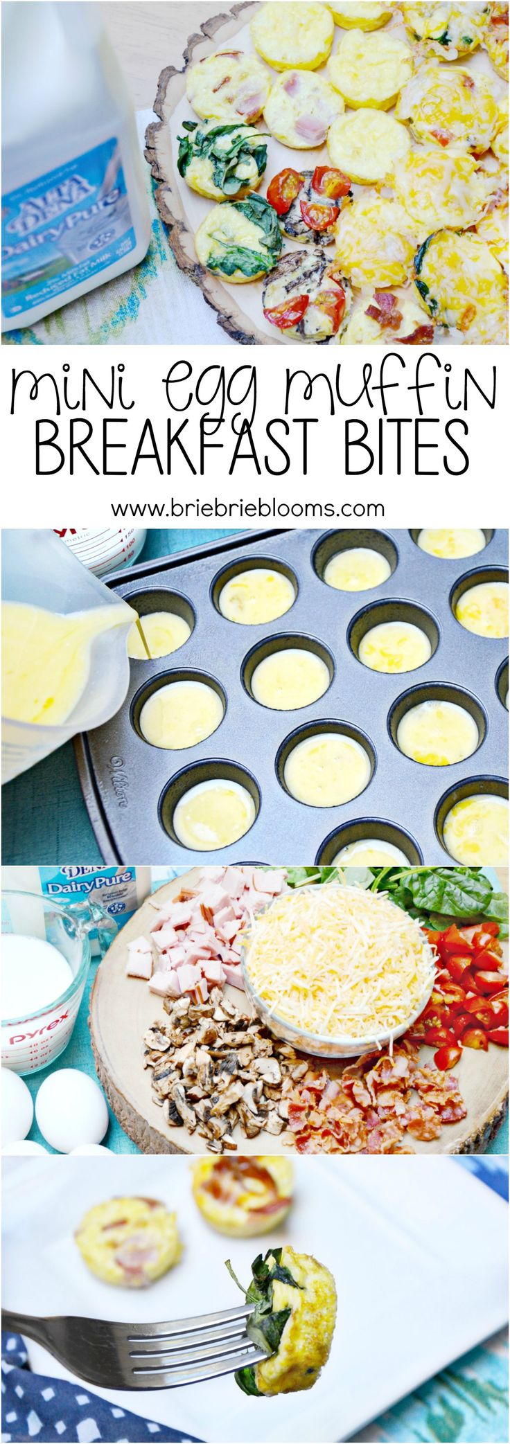 Make a variety of mini egg muffin breakfast bites for a great family breakfast and start to the day with protein and veggies. Easy recipe featuring @dairypuremilk. #DairyPureMilk #ad
