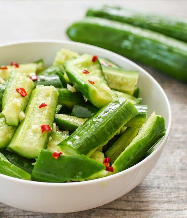 Chinese Cucumber Salad; sub white wine vinegar for rice wine vinegar, omit sugar