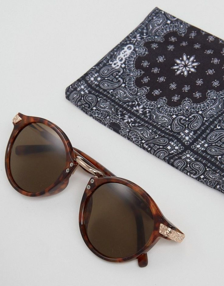 ASOS Vintage Round Sunglasses In Tort With Gold Detailing - Brown