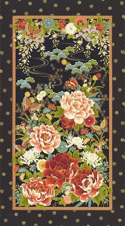 "Zen Oasis - Lacquer Flower Garden - 24"" x 44"" PANEL - Quilt Fabrics from www.eQuilter.com"
